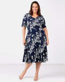 Queenspark Plus Collection Filigree Printed Knit Dress Navy