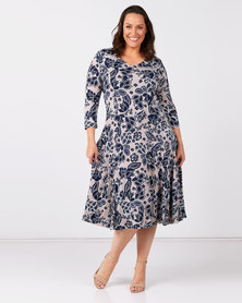 Queenspark Plus Collection 3/4 Sleeve Fit And Flare Printed Knit Dress Taupe