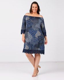 Queenspark Plus Collection Printed Lace Trim Knit Top Blue