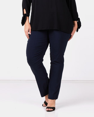 Queenspark Plus Collection Pleated Pocket Stretch Bengaline Woven Pants Navy