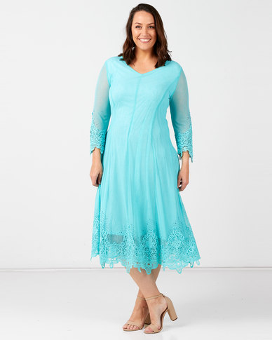 Queenspark Plus Collection Beaded Motif Fit And Flare Mesh Knit Dress Aqua