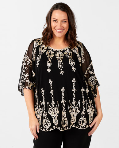 Queenspark Plus Collection Embroidery Detail Mesh Knit Top Black