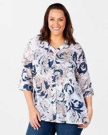 Queenspark Plus Collection Printed Floral Ghost Woven Shirt White