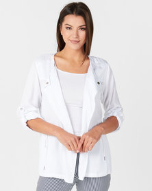 Miss Cassidy By Queenspark New Tencel Woven Jacket White