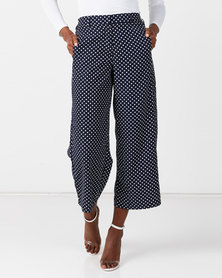 Miss Cassidy By Queenspark Side Tape Polka Dot Woven Slacks Navy