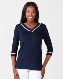 Miss Cassidy By Queenspark Tipped Knit Top Navy