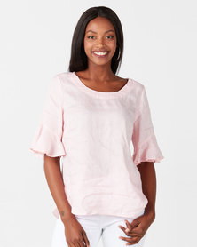 Miss Cassidy By Queenspark Ruffle Sleeve Linen Blouse Pink