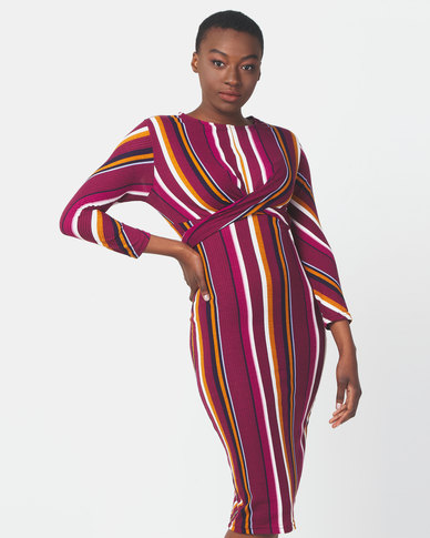 Legit Long Sleeve Wrap Tie Stripe Midi Dress Multi