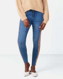Legit Rose Gold Side Stripe Skinny Jeans Stonewash