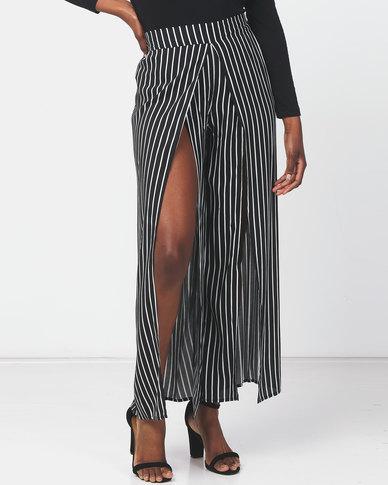 Legit Striped Split Front Wide Leg Pants Black/White