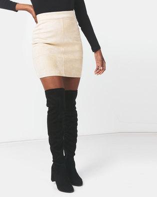Legit Suede A-Line Mini Skirt Stone