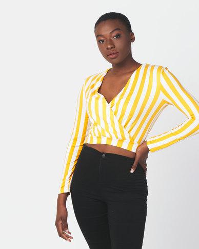 Legit Long Sleeve Stripe Knit Wrap Top Mustard