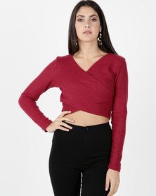 Legit Long Sleeve Crossover Top Burgundy