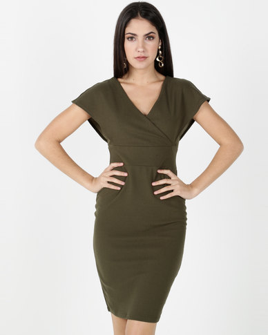 Legit Wide Strap Cross Front Back Zip Dress Fatigue