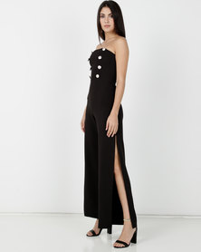 Legit Strapless Sailor Detail Wide-leg Jumpsuit Black