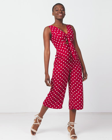 Legit Polka Dot Tie Front Culotte Jumpsuit Red