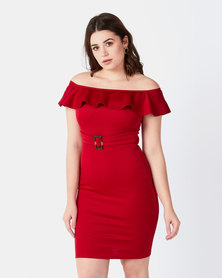 Legit Off The Shoulder Frill Detail Bodycon Dress With Belt Red