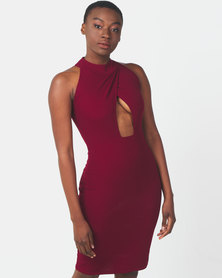Legit Mock Crossover Turtle Neck Bodycon Dress Burgundy