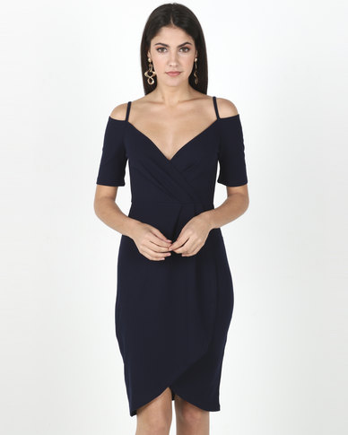 Legit Cold Shoulder Wrap Detail Dress Navy