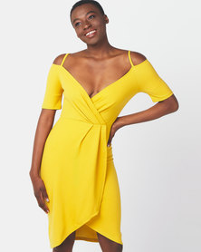 Legit Cold Shoulder Wrap Detail Dress Mustard