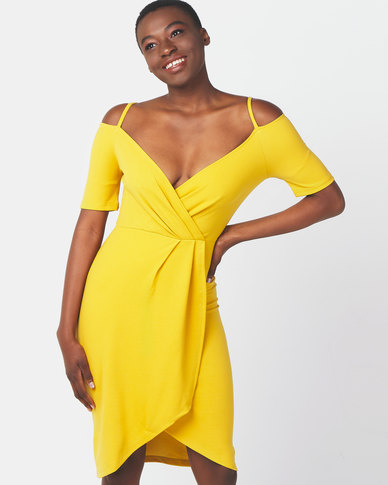 Legit Cold Shoulder Wrap Detail Dress Mustard