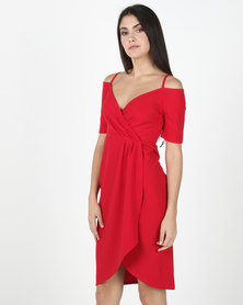 Legit Cold Shoulder Wrap Detail Dress Red