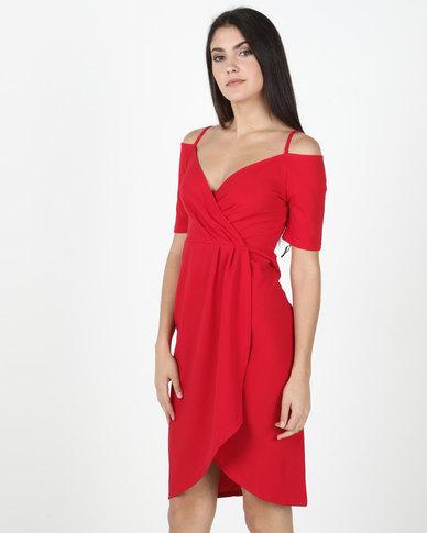 Legit Cold Shoulder Wrap Detail Dress Red