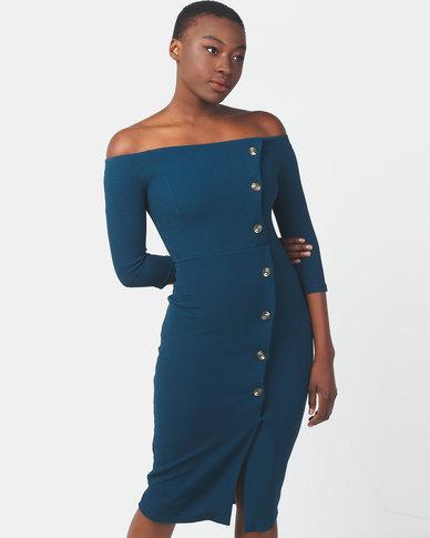 Legit Off The Shoulder Button Detail Bodycon Dress Teal