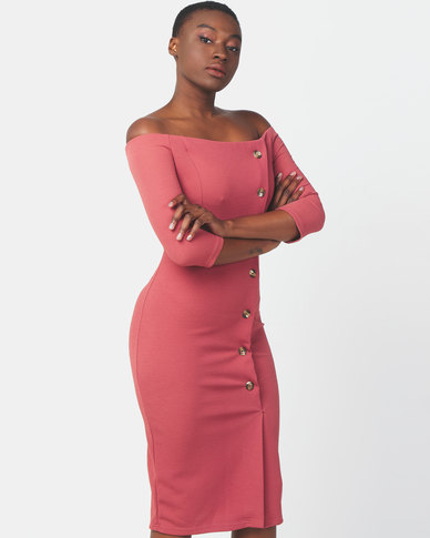 Legit Off The Shoulder Button Detail Bodycon Dress Blush