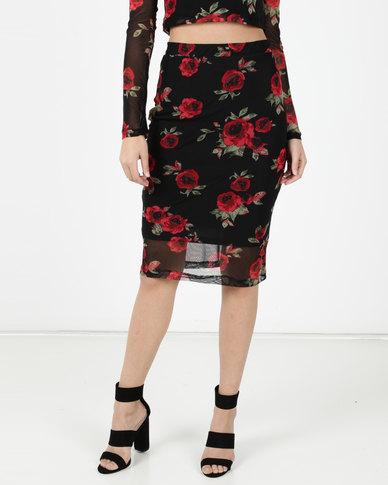 Legit Rose Print Mesh Skirt Red
