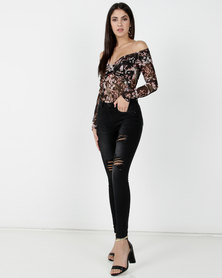 Legit Off The Shoulder Printed Mesh Bodysuit Multi