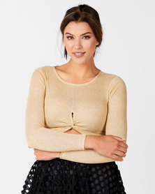 Legit Ls Twist Front Lurex Crop Top Gold
