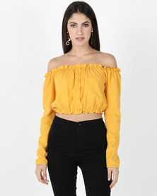 Legit Long Sleeve Button Front Top Mustard