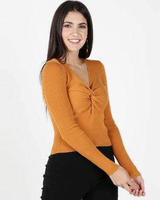 Legit Long Sleeve Knot Front Top Mustard