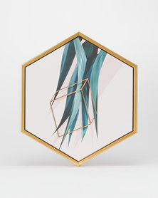 Green Leaf Hexagon Canvas by Utopia