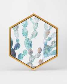 Green Tiny Cactus Hexagon Canvas by Utopia