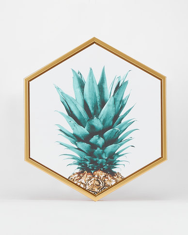 Green Pineapple Head Hexagon Canvas by Utopia