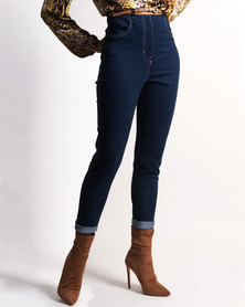 "Marique Yssel ""The Line"" Classic High - waist Jeans - Blue Stretch Denim"
