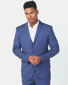 JCrew Check 2 Button Suit Jacket Blue