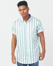 JCrew Vertical Bold Stripe Shirt Green