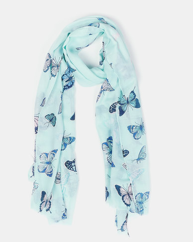 Queenspark Multi Butterfly Print Scarf Green