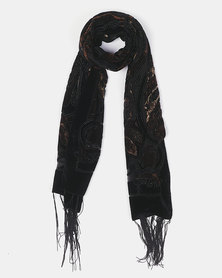Queenspark Paisley Devore Scarf Brown