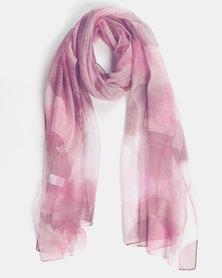 Queenspark Leaf Print Scarf Pink