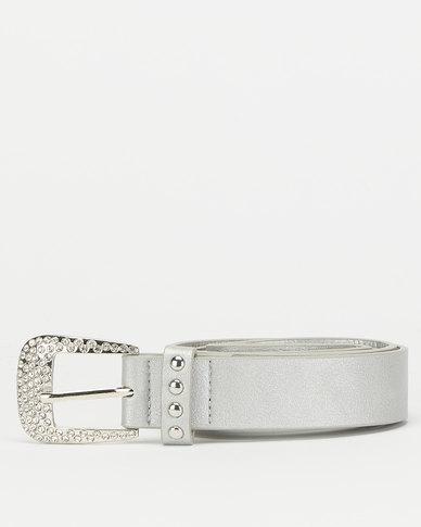 Queenspark Silver Fleur and Diamante Trim Belt