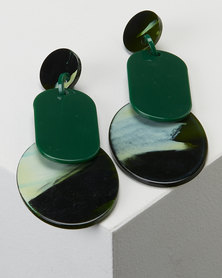 Queenspark Green Double Disc Resin Earrings