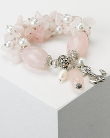 Queenspark Pink Pearl And Stone Wrist wear