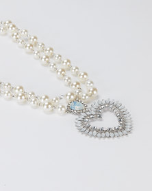 Queenspark White Pearl Necklace with Heart