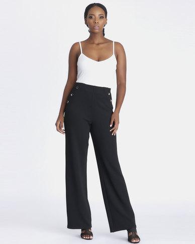 Contempo Wide Leg Button Detail Pants Black