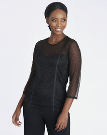 Contempo Mesh & Lace Combo Top Black