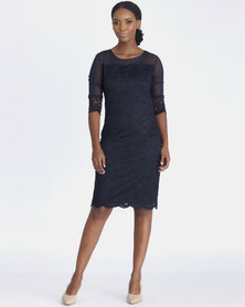 Contempo Lace And Mesh Combo Dress Navy